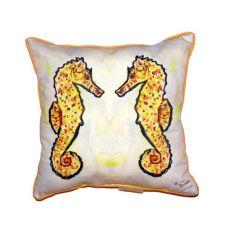 Gold Sea Horses Small Indoor/Outdoor Pillow 12X12