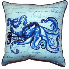 Blue Script Octopus Small Indoor/Outdoor Pillow 12X12
