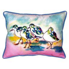 Pink Sanderlings Small Indoor/Outdoor Pillow 11X14