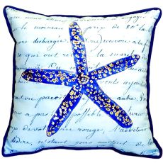 Blue Starfish Small Indoor/Outdoor Pillow 12X12