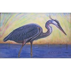 Blue Heron Outdoor Wall Hanging 24x30