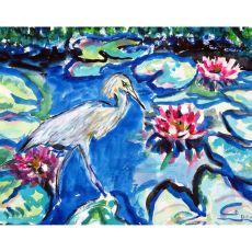 Heron & Waterlilies Outdoor Wall Hanging 24X30