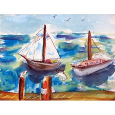 Two Sailboats Outdoor Wall Hanging 24X30