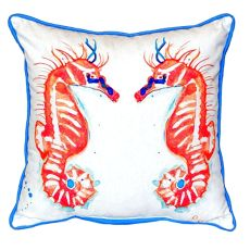 Coral Sea Horses Extra Large Zippered Pillow 22X22