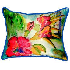 Lighthouse And Florals Extra Large Zippered Pillow 20X24