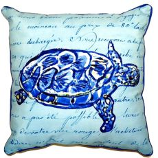 Sea Turtle Blue Script Extra Large Zippered Pillow 22X22