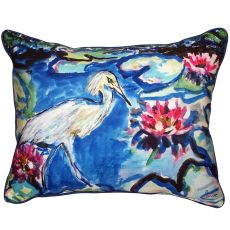 Heron & Waterlilies Extra Large Zippered Pillow 20X24
