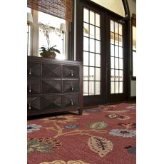 Classic Floral & Leaves Pattern Red/Multi Wool Area Rug (9.6X13.6)