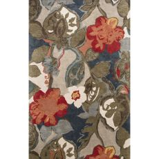 Contemporary Floral & Leaves Pattern Blue/Red Wool And Art Silk Area Rug (9X12)