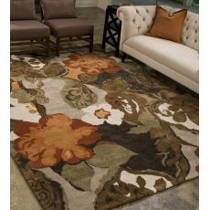 Contemporary Floral & Leaves Pattern Brown/Orange Wool Area Rug (9.6X13.6)