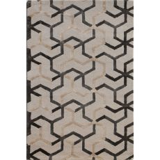Contemporary Tribal Pattern Ivory/Gray Wool And Art Silk Area Rug (9X12)