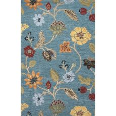 Floral & Leaves Pattern Wool And Viscose Blue Area Rug