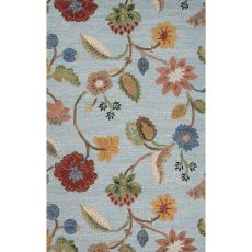 Classic Floral & Leaves Pattern Blue/Yellow Wool And Art Silk Area Rug (9X12)
