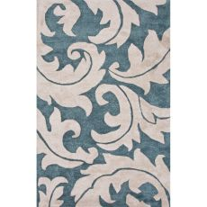 Contemporary Damask Pattern Blue/Ivory Wool And Art Silk Area Rug (9X12)