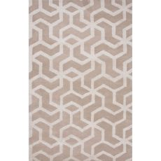 Contemporary Tribal Pattern Ivory/White Wool And Art Silk Area Rug (9X12)