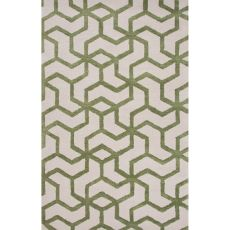 Contemporary Tribal Pattern Ivory/Green Wool And Art Silk Area Rug (9X12)