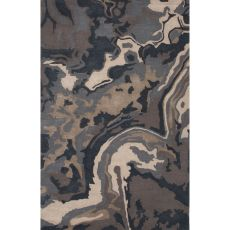 Contemporary Abstract Pattern Blue/Tan Wool And Art Silk Area Rug (9X12)