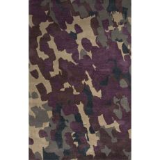 Contemporary Abstract Pattern Purple/Ivory   Wool And Art Silk Area Rug (8X10)