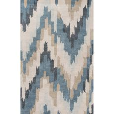 Novelty Pattern Wool And Viscose Blue Area Rug