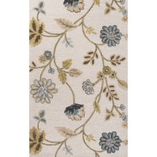 Contemporary Floral & Leaves Pattern Blue Wool And Art Silk Area Rug (9X12)