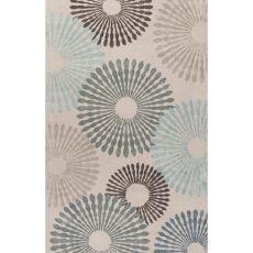 Contemporary Coastal Pattern Blue Wool And Art Silk Area Rug (8X10)