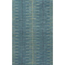 Contemporary Tribal Pattern Blue Wool And Art Silk Area Rug (9X12)