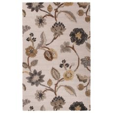 Contemporary Floral & Leaves Pattern Ivory/Gray Wool And Art Silk Area Rug (9X12)