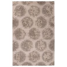 Contemporary Medallion Pattern Ivory/Gray Wool And Art Silk Area Rug (9X12)