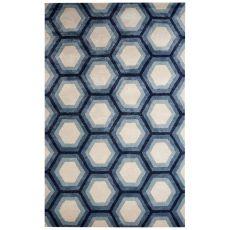 Geometric Pattern Wool And Viscose Blue Area Rug
