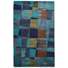 Abstract Pattern Wool And Viscose Blue Area Rug