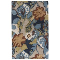 Contemporary Floral & Leaves Pattern Blue/Green Wool And Viscose Area Rug ( 8X10)