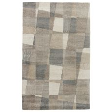 Contemporary Geometric Pattern White/Gray Wool And Viscose Area Rug ( 8X10)