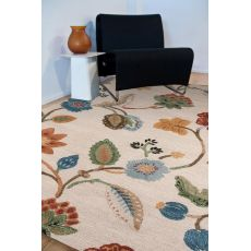 Classic Floral & Leaves Pattern Ivory/Multi Wool And Art Silk Area Rug (9X12)