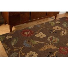 Classic Floral & Leaves Pattern Brown/Yellow Wool Area Rug (9.6X13.6)