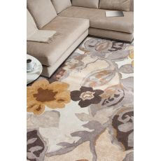 Contemporary Floral Pattern Ivory/Yellow Wool And Art Silk Area Rug (9X12)