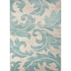 Contemporary Damask Pattern Ivory/Blue Wool And Art Silk Area Rug (9X12)