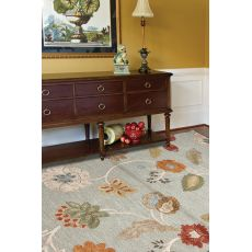 Classic Floral & Leaves Pattern Blue/Red Wool Area Rug (5X8)