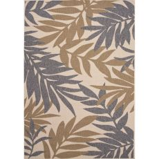 Indoor/Outdoor Floral & Leaves Pattern Gray/Taupe Polypropylene Area Rug (7.11X10)