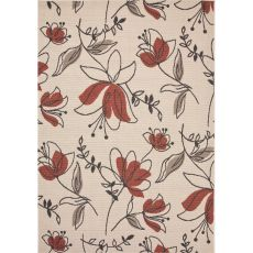 Indoor/Outdoor Floral & Leaves Pattern Ivory/Red Polypropylene Area Rug (7.11X10)