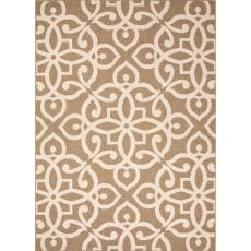 Indoor/Outdoor Damask Pattern Brown/Taupe Polypropylene Area Rug (9X12)