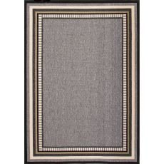 Indoor/Outdoor Border Pattern Gray/Taupe Polypropylene Area Rug (7.11X10)