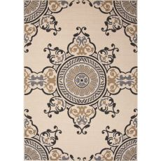 Indoor/Outdoor Medallion Pattern Taupe/Gray Polypropylene Area Rug (9X12)