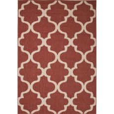 Indoor/Outdoor Trellis, Chain And Tile Pattern Red/Ivory Polypropylene Area Rug (9.2X12.6)