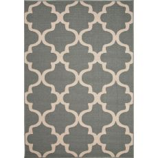 Indoor/Outdoor Trellis, Chain And Tile Pattern Blue/Ivory Polypropylene Area Rug (7.11X10)