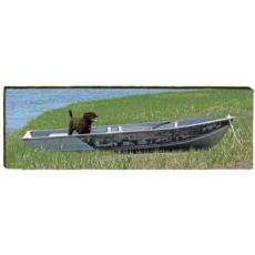 Black Labrador in Boat Wood Wall Art