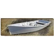 White Boat Wood Wall Art