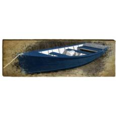 Blue Boat Wood Wall Art