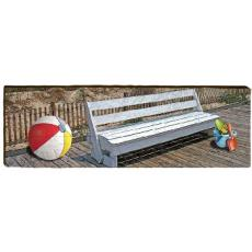 Beach Bench And Ball Wood Wall Art