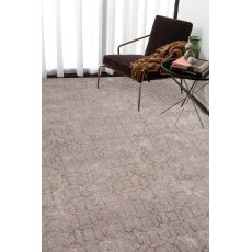 Contemporary Trellis, Chain And Tile Pattern Gray/Taupe Wool And Art Silk Area Rug (9.6X13.6)