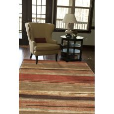 Contemporary Abstract Pattern Orange/Brown Wool And Art Silk Area Rug (9.6X13.6)